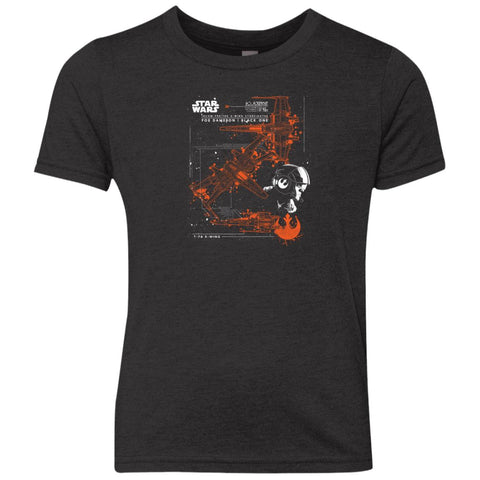Star Wars Poe Dameron X-wing T Shirt For Kids Vintage Black / YXS Youth Triblend Crew Shirt - PresentTees