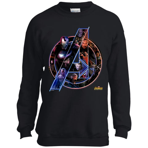 Marvel Avengers Infinity War Movie Adult And Kid T Shirt Jet Black / YXS Youth Crewneck Sweatshirt - PresentTees
