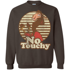 Disney Emperors New Groove Kuzco Llama No Touchy Shirt Dark Chocolate Crewneck Pullover Sweatshirt Crewneck Pullover Sweatshirt - PresentTees