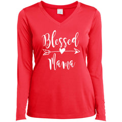 Blessed Mama Shirt - Mothers Day Gift For Mama And Grandma Hot Coral Ladies Long Sleeve V-Neck Ladies Long Sleeve V-Neck - PresentTees