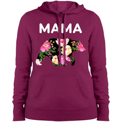Mama Bear Floral  Gift For Mothers Day And Birthday Ladies Pullover Hooded Sweatshirt Ladies Pullover Hooded Sweatshirt - PresentTees