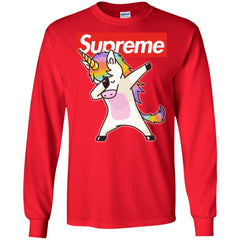 Supreme Unicorn T-shirt Dance Dabbing Unicorn Men Long Sleeve Shirt Men Long Sleeve Shirt - PresentTees