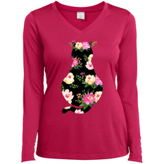 Cat Mom Floral - Mothers Day Or Birthday Gift Ladies Long Sleeve V-Neck Ladies Long Sleeve V-Neck - PresentTees