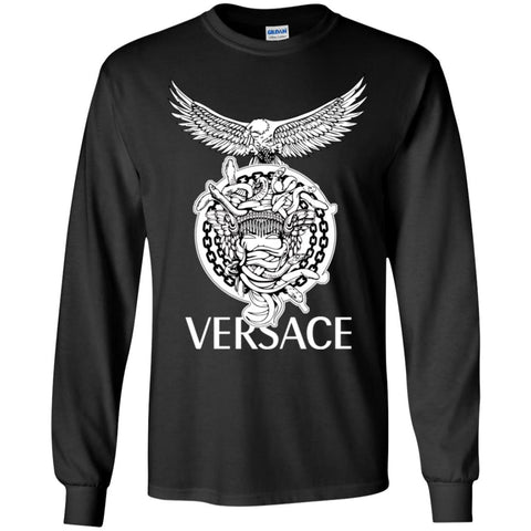 Versace Supervip Logo T-shirt Men Long Sleeve Shirt Black / S Men Long Sleeve Shirt - PresentTees