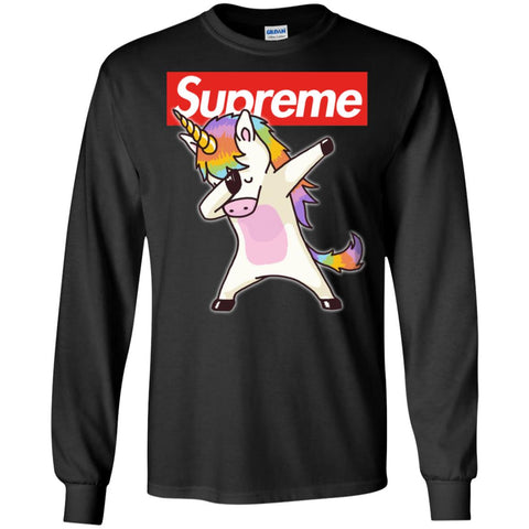 Supreme Unicorn T-shirt Dance Dabbing Unicorn Men Long Sleeve Shirt Black / S Men Long Sleeve Shirt - PresentTees