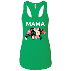 Mama Bear Floral  Gift For Mothers Day And Birthday Ladies Racerback Tank Ladies Racerback Tank - PresentTees