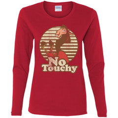 Disney Emperors New Groove Kuzco Llama No Touchy Shirt Red Ladies Long Sleeve Shirt Ladies Long Sleeve Shirt - PresentTees