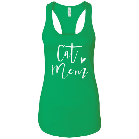 Cat Mom - Mothers Day Or Birthday Shirt Gift Ladies Racerback Tank Kelly Green / S Ladies Racerback Tank - PresentTees