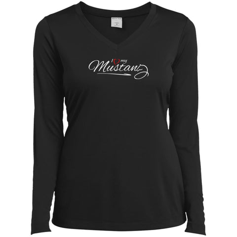 I Love My Mustang Shirt - Wild Horse Lovers T Shirt Black / X-Small Ladies V-Neck Long Sleeve Shirt - PresentTees