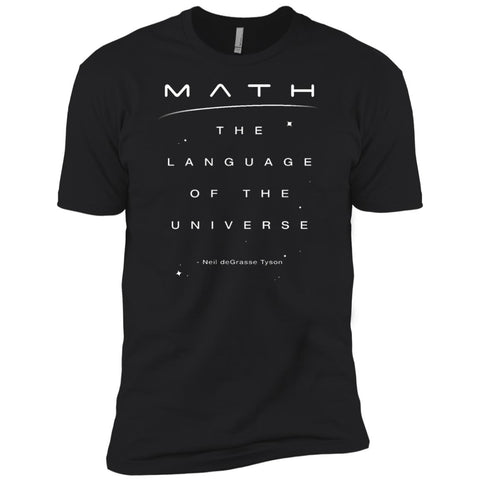 Math Language Universe Quote Neil Degrasse Tyson Mens Short Sleeve T-Shirt Black / X-Small Mens Short Sleeve T-Shirt - PresentTees