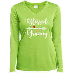 Blessed Granny Shirt - Mothers Day Gift For Granny Lime Shock Ladies Long Sleeve V-Neck Ladies Long Sleeve V-Neck - PresentTees