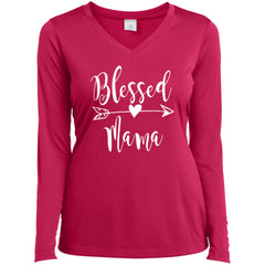 Blessed Mama Shirt - Mothers Day Gift For Mama And Grandma Pink Raspberry Ladies Long Sleeve V-Neck Ladies Long Sleeve V-Neck - PresentTees