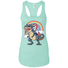 Unicorn Riding Dinosaur T Rex T Shirt Unicorns Rainbow Gifts Ladies Racerback Tank Ladies Racerback Tank - PresentTees