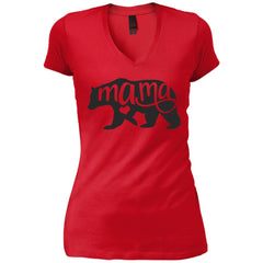 Mama Bear Shirt - Mothers Day Or Birthday  Gift For Mommy And Grandma New Red Womens V-Neck T-Shirt Womens V-Neck T-Shirt - PresentTees