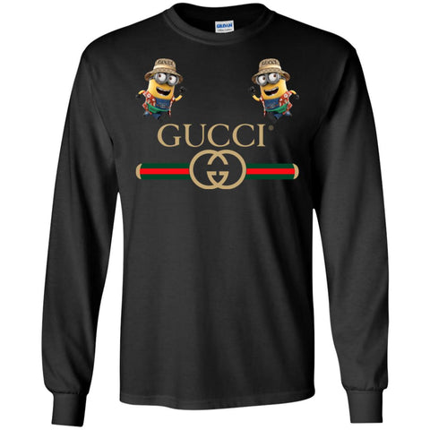 Gucci T-shirt Minion Funny Film Men Long Sleeve Shirt Black / S Men Long Sleeve Shirt - PresentTees