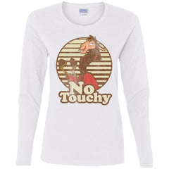 Disney Emperors New Groove Kuzco Llama No Touchy Shirt White Ladies Long Sleeve Shirt Ladies Long Sleeve Shirt - PresentTees