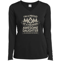 Proud Mom Shirt - Birthdays Gift From A Daughter To Mom Ladies Long Sleeve V-Neck Ladies Long Sleeve V-Neck - PresentTees