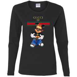Gucci Logo Mickey Gift Trending Women Long Sleeve Shirt