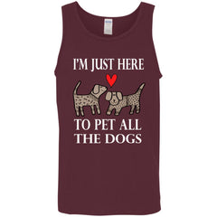 Funny I'm Just Here To Pet All The Dogs Mens Tank Top Mens Tank Top - PresentTees