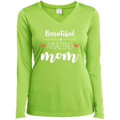 Beautiful Amazing Mom - Birthday Gift Ladies Long Sleeve V-Neck Ladies Long Sleeve V-Neck - PresentTees