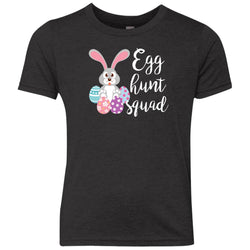 Kid's Egg Hunt Squad Easter Day Youth T Shirt Youth Triblend Crew Shirt