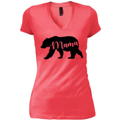 Mama Bear T- Shirt - Mothers Day Or Birthday Gift For Womens Coral Womens V-Neck T-Shirt Womens V-Neck T-Shirt - PresentTees