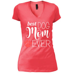 Best Dog Mom Ever Best Dog Mum Womens V-Neck T-Shirt Womens V-Neck T-Shirt - PresentTees