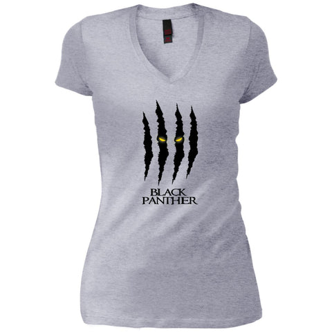 Mavel Black Panther Glares T Shirt Heathered Grey / X-Small Womens V-Neck T-Shirt - PresentTees