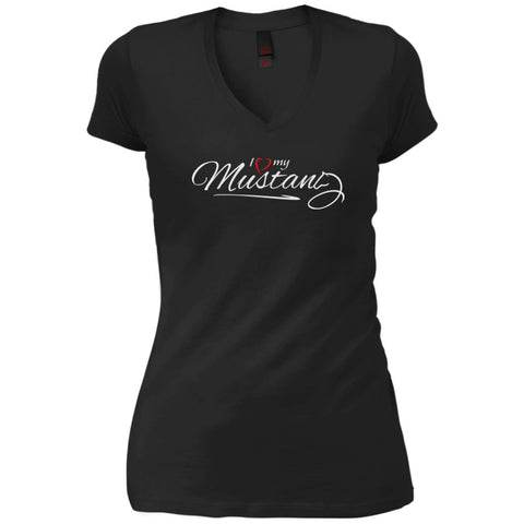 I Love My Mustang Shirt - Wild Horse Lovers T Shirt Black / X-Small Womens V-Neck T-Shirt - PresentTees
