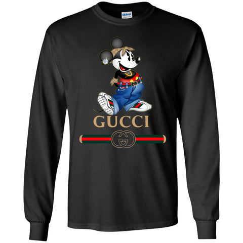 Gucci T-shirt Mouse Mickey Cartoon Men Long Sleeve Shirt Black / S Men Long Sleeve Shirt - PresentTees
