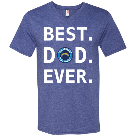 Best Los Angeles Chargers Dad Ever Fathers Day Shirt Mens V-Neck T-Shirt Heather Blue / S Mens V-Neck T-Shirt - PresentTees