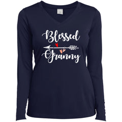 Blessed Granny Shirt - Mothers Day Gift For Granny True Navy Ladies Long Sleeve V-Neck Ladies Long Sleeve V-Neck - PresentTees