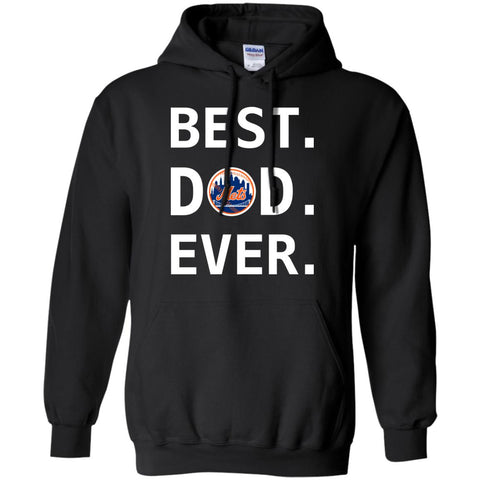 Best New York Mets Dad Ever Baseball Fathers Day Shirt Mens Pullover Hoodie Black / S Mens Pullover Hoodie - PresentTees