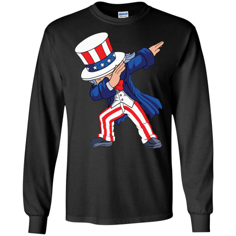 Dabbing Uncle Sam Shirt 4th Of July Independence T Shirt Mens Long Sleeve Shirt Black / S Mens Long Sleeve Shirt - PresentTees