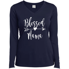 Blessed Mama Shirt - Mothers Day Gift For Mama And Grandma True Navy Ladies Long Sleeve V-Neck Ladies Long Sleeve V-Neck - PresentTees