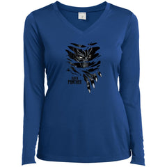 Marvel Black Panther Breaks Through T Shirt Ladies V-Neck Long Sleeve Shirt - PresentTees