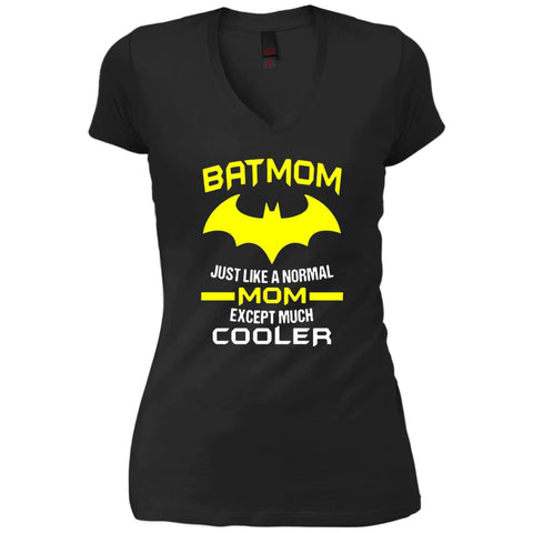 Batmom Just Like A Normal Mom Except Much Cooler - Mothers Day And Birthday Womens V-Neck T-Shirt Black / X-Small Womens V-Neck T-Shirt - PresentTees