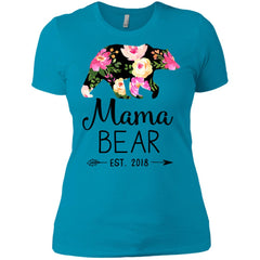 Floral Mama Bear Est 2018 Womens Cotton T-Shirt Womens Cotton T-Shirt - PresentTees