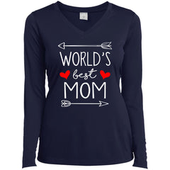 World's Best Mom Mothers Day Gift Ladies Long Sleeve V-Neck Ladies Long Sleeve V-Neck - PresentTees