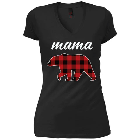 Mama Bear T Shirt For Mom And Grandma On Mothers Day Or Birthday Black Womens V-Neck T-Shirt Black / S Womens V-Neck T-Shirt - PresentTees