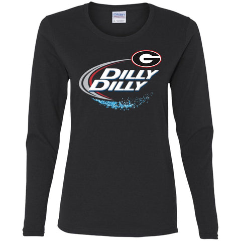 Dilly Dilly Georgia Bulldogs Nfl Ladies Long Sleeve Shirt Black / S Ladies Long Sleeve Shirt - PresentTees