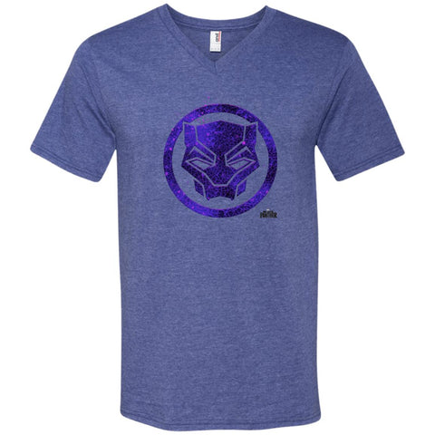 Marvel Black Panther Movie Purple Splatter Icon T-shirt Heather Blue / Small Mens V-Neck T-Shirt - PresentTees