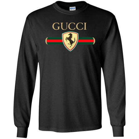 Gucci Ferrari T-shirt Men Long Sleeve Shirt Black / S Men Long Sleeve Shirt - PresentTees