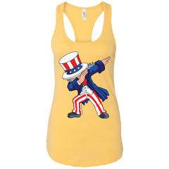 Dabbing Uncle Sam Shirt 4th Of July Independence T Shirt Ladies Racerback Tank Ladies Racerback Tank - PresentTees
