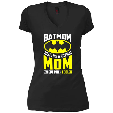 Batmon Just Like A Normal Mom Except Much Cooler T-shirt - Womens Batman Shirt Black / S Womens V-Neck T-Shirt - PresentTees