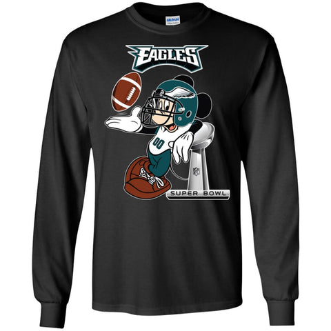 Nfl Philadelphia Eagles Mickey Mouse Super Bowl Football Men Long Sleeve  Shirt Black   S Men cf24b79d6