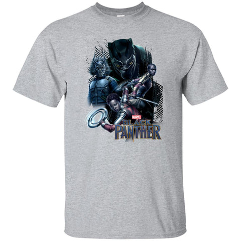 Marvel Black Panther Movie Okoye Nakia Group T-shirt Sport Grey / Small Mens Cotton T-Shirt - PresentTees