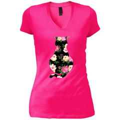 Cat Mom Floral - Mothers Day Or Birthday Gift Womens V-Neck T-Shirt Womens V-Neck T-Shirt - PresentTees