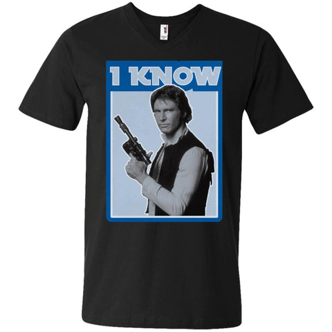 Star Wars Han Solo Iconic Unscripted I Know Graphic Mens V-Neck T-Shirt Black / S Mens V-Neck T-Shirt - PresentTees