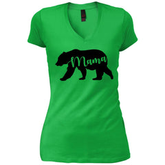 Mama Bear T- Shirt - Mothers Day Or Birthday Gift For Womens Apple Green Womens V-Neck T-Shirt Womens V-Neck T-Shirt - PresentTees